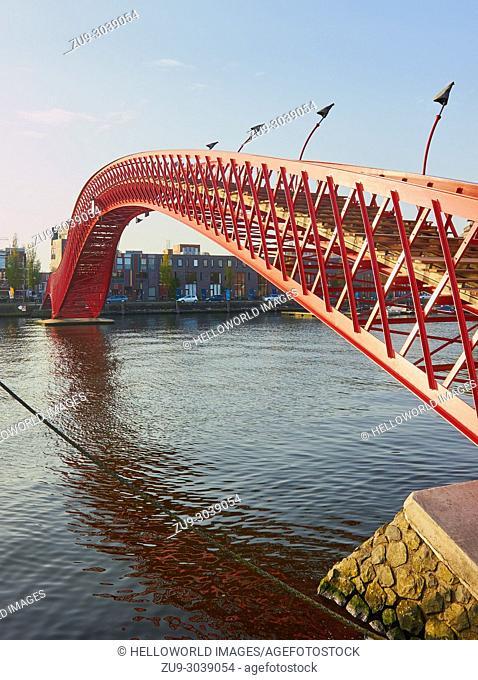 Python Bridge, Oosterdokseiland, eastern docklands), Amsterdam, Netherlands. Pedestrian footbridge (2001) designed by Adriaan Geuze of West 8
