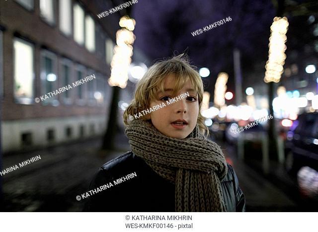 Portrait of blond boy in winter