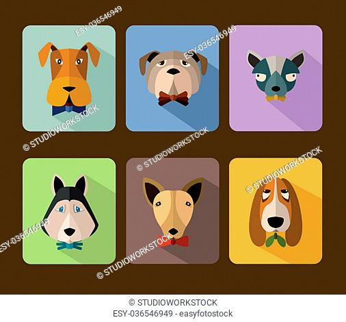 Big set of icons of dogs with different muzzles. Illustration for web or mobile application to select userpic