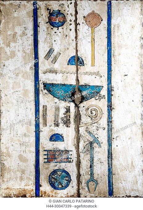 Medinet Habu, Luxor, Egypt, Djamet, mortuary temple of King Ramses III, XX dyn. 1185 -1078 B.C: colourful hieroglyps on second courtyard