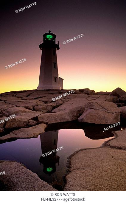Lighthouse at dawn, Peggys Cove, Halifax County Nova Scotia