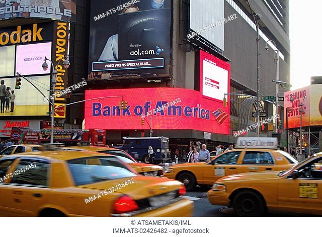 Times Square, street, cabs, traffic jam, New York City, New York, United States, North America