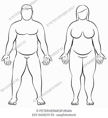 Illustration Couple Of Obese Stock Photos And Images