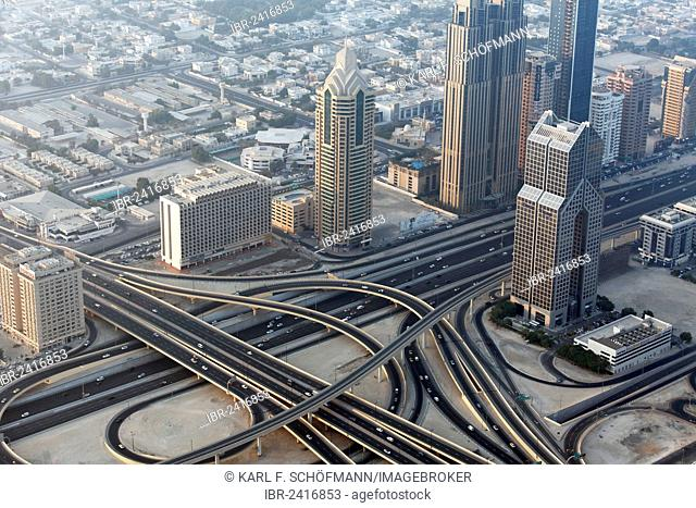 View from Burj Khalifa over a motorway junction on Sheikh Zayed Road, United Arab Emirates, Middle East, Asia