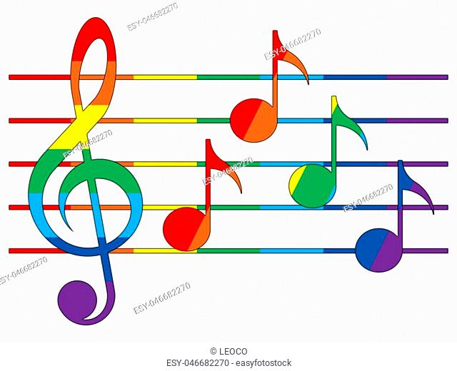 Treble clef, notes and staff in the colors of the rainbow on the white background