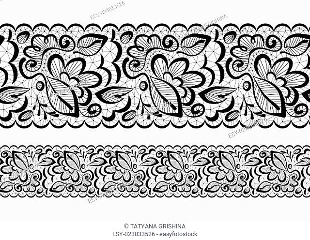 Vector seamless. Lace flowers and leaves