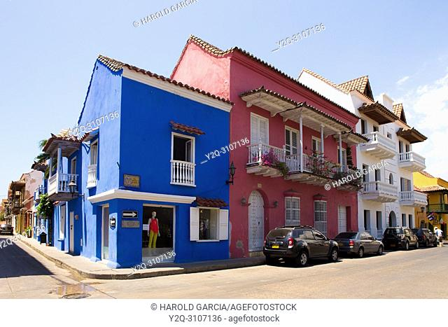 Colorful Colonial houses in the ancient walled city of Cartagena de Indias. UNESCO's historical patrimony of humanity. Cartagena, Colombia