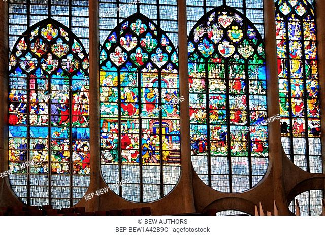 Stained glass windows of Sainte Jeanne d'Arc church Rouen. Normandy France