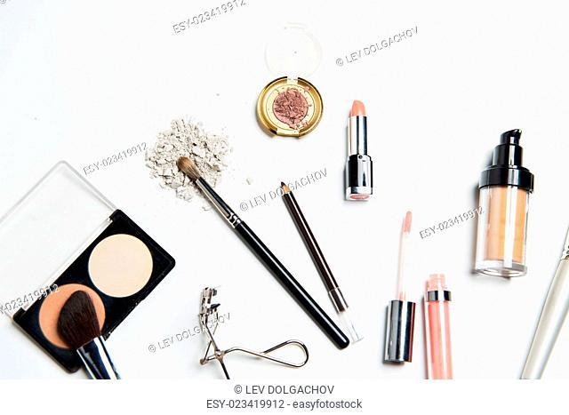 cosmetics, makeup and beauty concept - close up of makeup stuff