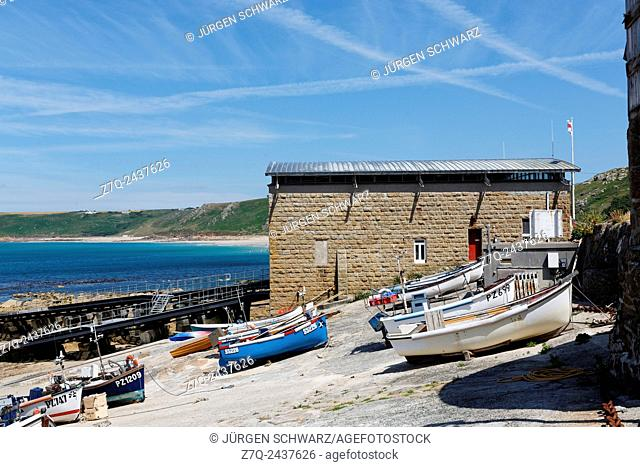 Boats and harbour of Sennen Cove, Cornwall, UK