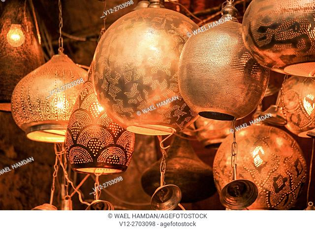 chandeliers from the tourist bazaar of the Khan El Khalili in Islamic Cairo in Egypt