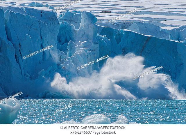 Ice Calving, Deep Blue Glacier, 14 of July Glacier, Krossfjord, Arctic, Spitsbergen, Svalbard, Norway, Europe