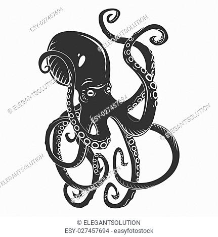 Black danger cartoon octopus characters with curling tentacles swimming underwater, isolated on white. Tattoo or pattern on a t-shirt, poster or logo