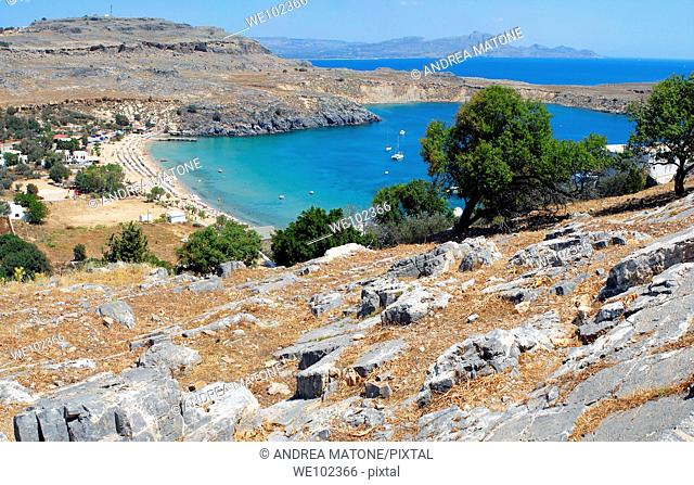 A view of the beach of Lindos from the hillside Island of Rhodes Greece