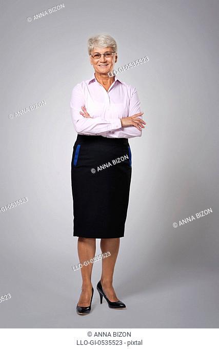 Portrait of candid senior business woman. Debica, Poland