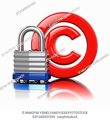 Copyright symbol with lock. Protection concept. 3d