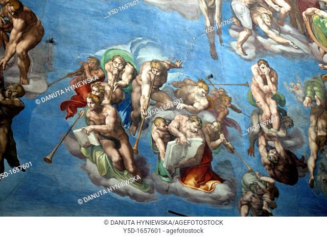 details of Michelangelo's most famous fresco The Last Judgement, Sistine Chapel, Vatican Museum, Rome, Italy