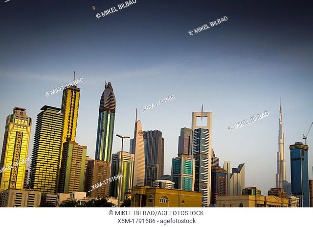 Burj Khalifa and skyscrapers in city center  Jumeirah area  Dubai city  Dubai  United Arab Emirates