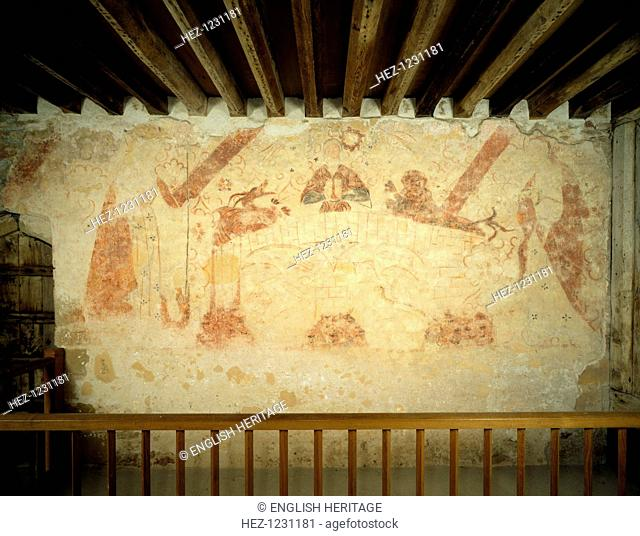 A 15th century mural on the east wall of the painted chamber at Cleeve Abbey, Somerset, 1999. Cleeve Abbey was a Cistercian monastery founded in 1198