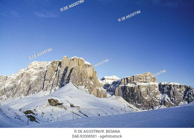 View of the Sella Dolomites Group from the slopes of Col Rodella, snowy landscape, Fassa Valley, Trentino-Alto Adige, Italy