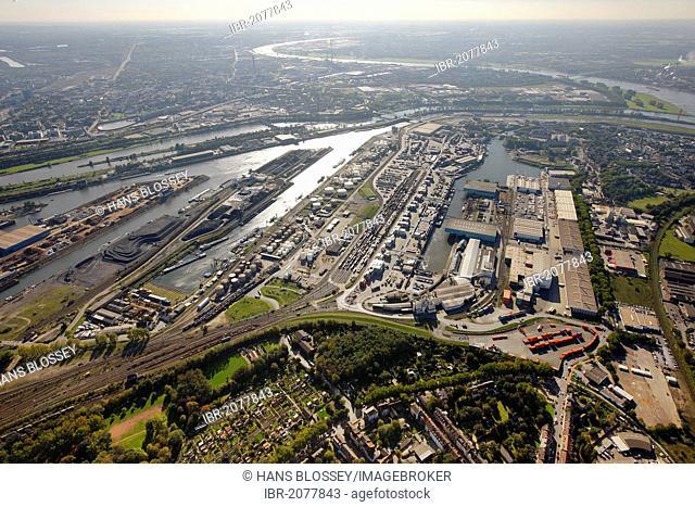 Aerial view, port of Duisburg, Duisport, container port, coal dock, Ruhr river, Rhine, Ruhrort quarter, Duisburg, Ruhr Area, North Rhine-Westphalia, Germany
