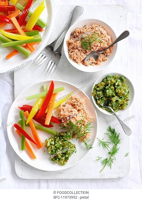 Salmon pâté and cucumber relish with vegetable crudites