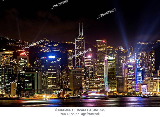 Night skyline of Central District and Victoria Harbour Hong Kong