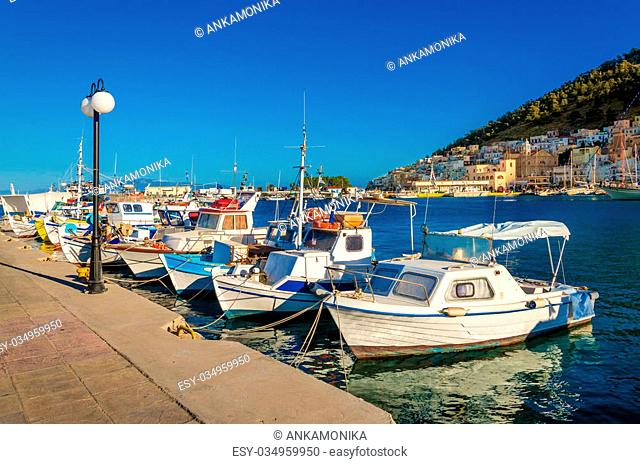 Small boats in Greek port on Island of Kalymnos, Greece