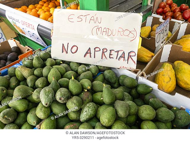 Estan maduros. No Apretar. They are ripe, Do not squeeze sign on Avocados in mercado central market in Las Palmas, Gran Canaria, Canary Islands, Spain