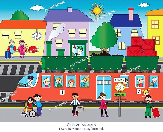illustration of train station with people