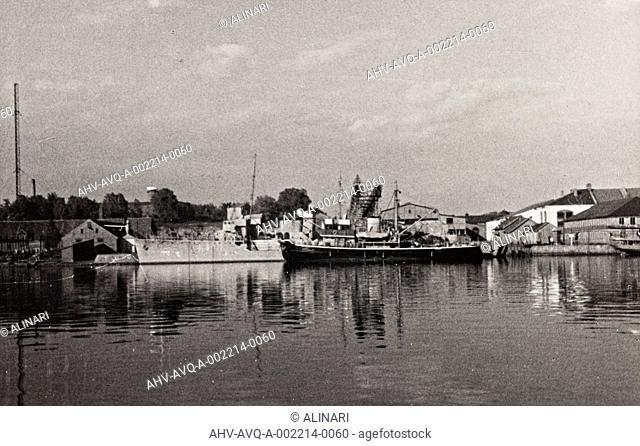 First World War: naval vessel along the dock of Ostend, shot 1914-1918
