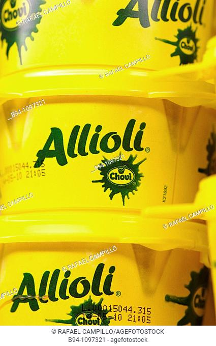 Allioli traditional sauce made of garlic, olive oil, and egg in a supermarket in Barcelona, Catalonia, Spain