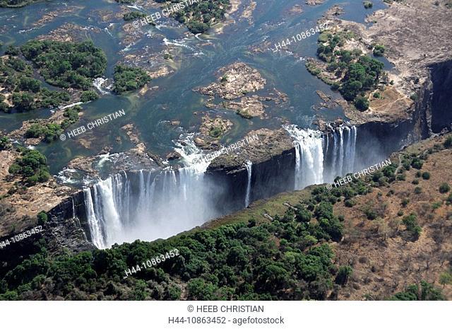 Victoria Falls, Waterfall, waterfalls, Nature, water, rock, cliffs, cliff, Zambesi River, Livingstone, Southern Province, Zambia, Africa, canyon, gorge