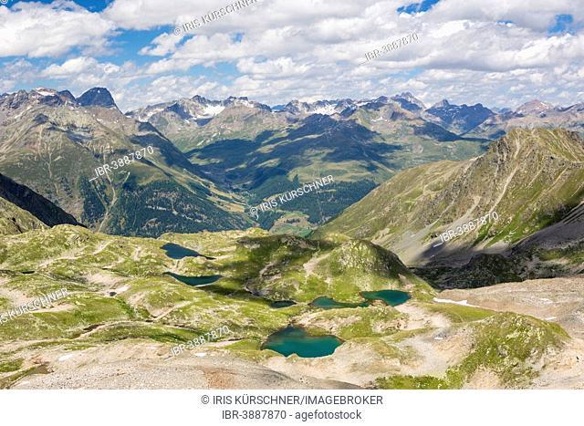 Macun lake plateau, view from the Fuorcla da Barcli, 2850m, Swiss National Park, Graubünden, Switzerland