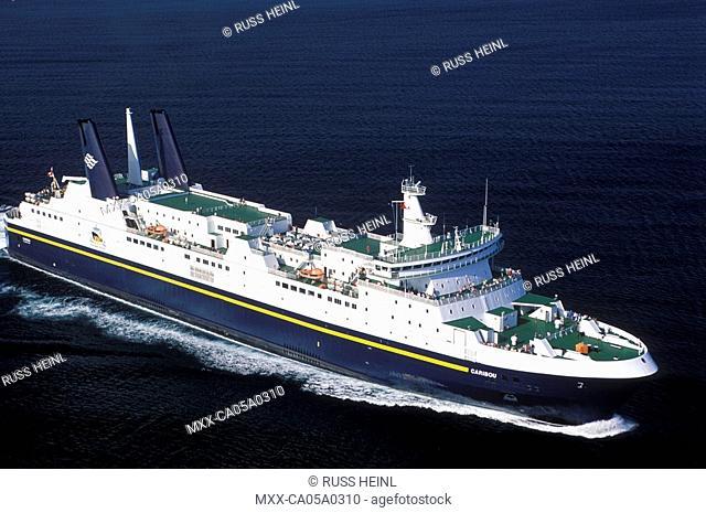 Aerial of a ferry to Port aux Basques, Newfoundland, Canada