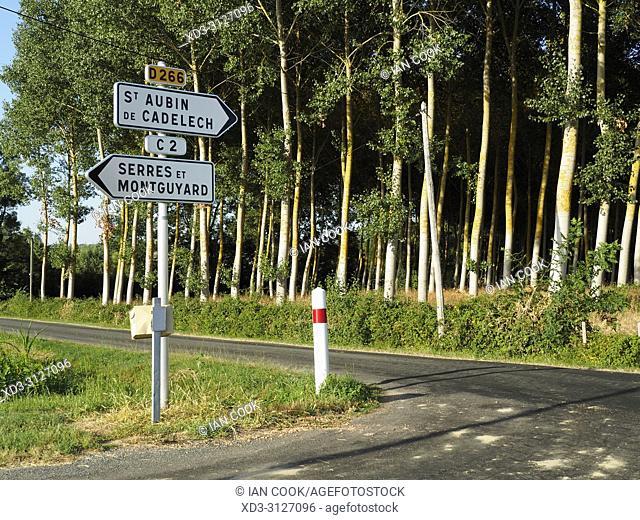 road signs, Lot-et-Garonne Department, Nouvelle-Aquitaine, France