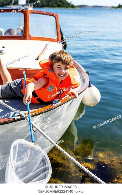 Young boy on a boat