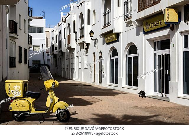 A yellow post motorcycle in Carboneras village, Almeria province, Spain