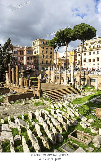 Largo di Torre Argentina is a square in Rome, Italy, with four Roman Republican temples and the remains of Pompey's Theatre. Rome. Lazio. Italy