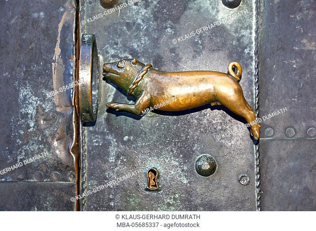 Quedlinburg, door handle 'Schweinehund' in the collegiate church St. Servatius
