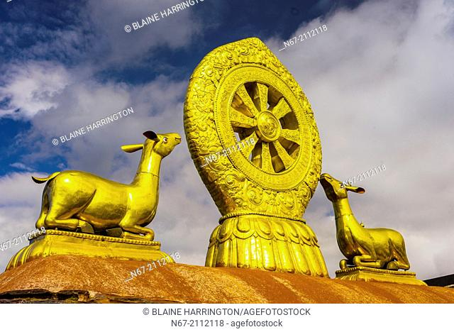 The Golden Wheel of Dharma and Deer sculpture, The Jokhang Temple (most sacred temple in Tibet), Lhasa, Tibet (Xizang), China