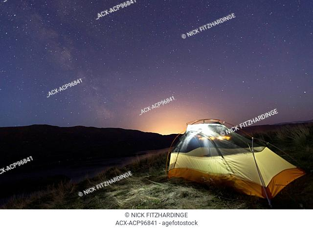 camping under the stars in the Okanagan valley, British Columbia, Canada