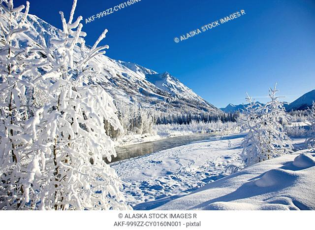 Snow covered landscape along the East Fork of the Six Mile Creek on the Kenai Peninsula in the Chugach National Forest. Kenai Mountains in the background