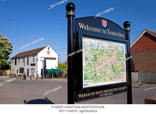 England Kent Tenterden Map with distant Tenterden & District Museum
