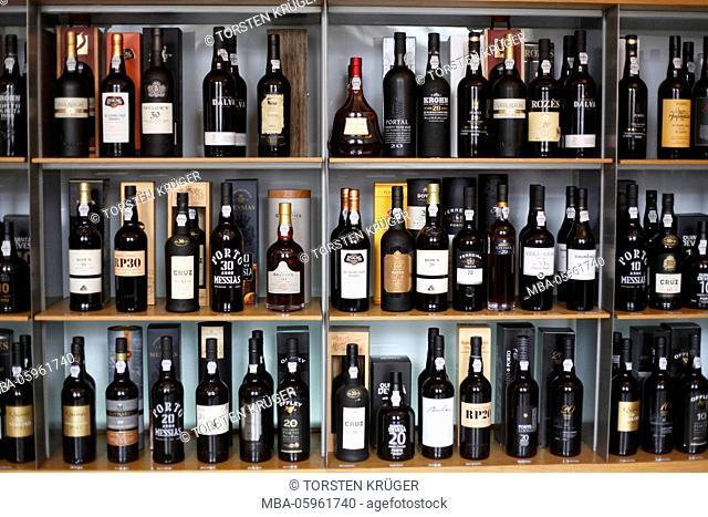 bottles of port wine in the wine institute, Porto, district of Porto, Portugal, Europe