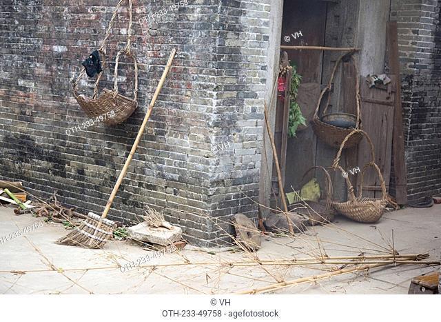 Blue brick walls of house at Majianglong village, Kaiping, China