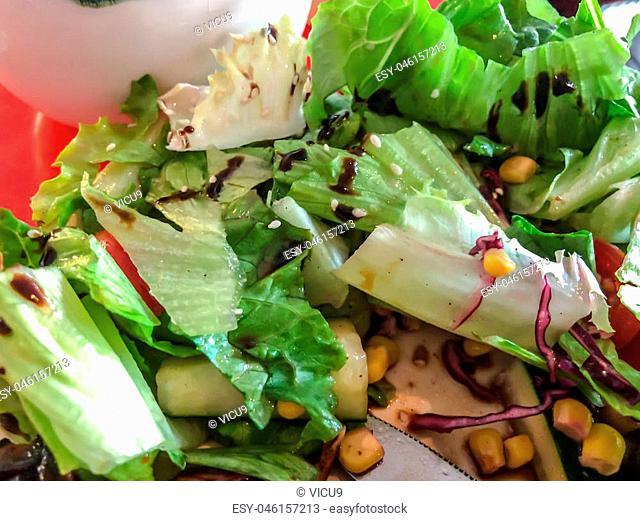 Spring vegetable salad. Fresh salad from green leaves with chicken steak, cucumber, sesame seeds, corn with sauce. Vegetarian vegan food