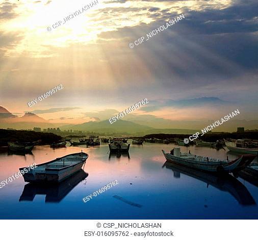 Last sunrise and fishing