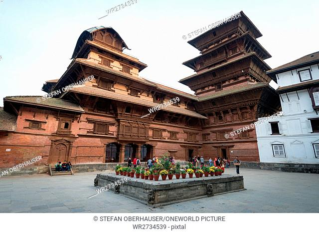 Nepal, Central Region, Kathmandu, flowers in the courtyard of the Basantapur Tower at Durbar Square in Kathmandu