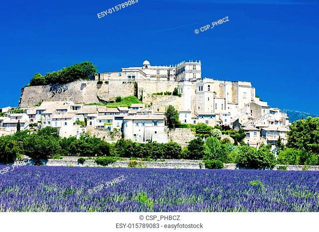 Grignan with lavender field, D�partement Dr�me, Rh�ne-Alpes, France